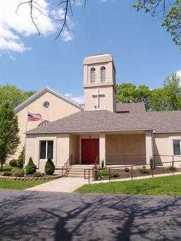 exterior of a stucco church