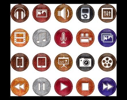 Vector Leather Realistic Multimedia Icons