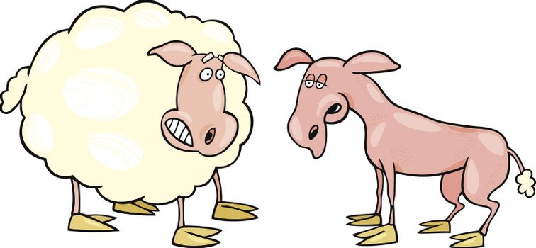 Frightened sheep and shaved one