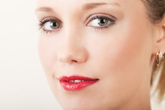 Closeup portrait of a pretty young woman