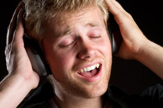 Man listening to headphones music