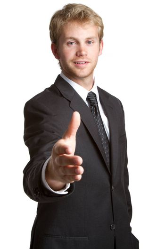 Young isolated businessman giving handshake