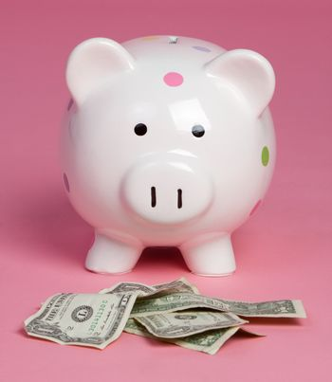 Piggy bank money pink background