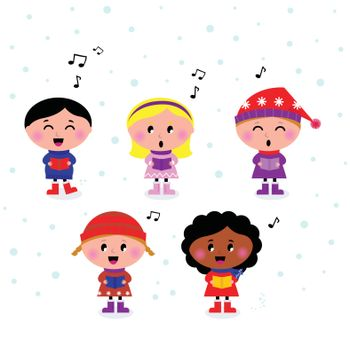 Little multicultural Kids singing Christmas Carol. Vector cartoon.