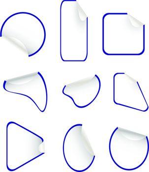 set of blue blank stickers label badges