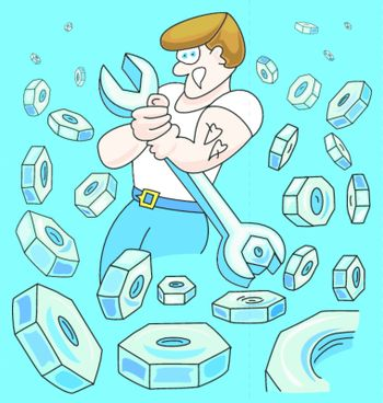 Illustration of worker circled with lots of steel nuts