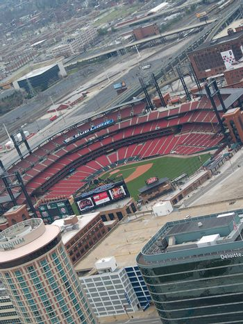 Editorial. Arial image of Busch stadium for the Cardinals in St. Louis. It was actually taken from inside the St. Louis Arch.