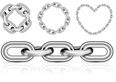 Collection of metal chain parts on white background. Vector illustration. Mesh tool used