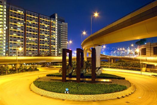 Roundabout in city at night