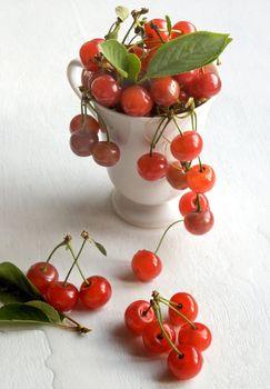 white mug with cherry