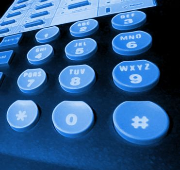 blue glowing - phone keypad.