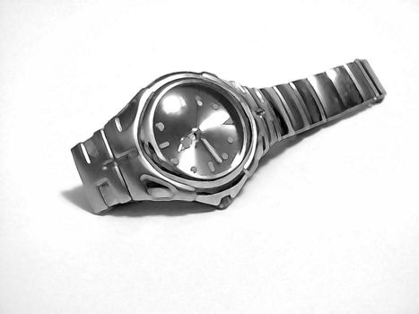 A watch with a paintbrush filter effect.