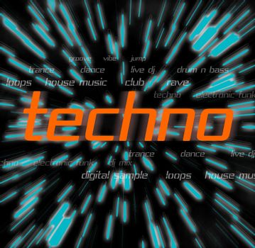 A techno montage with typography and graphics.