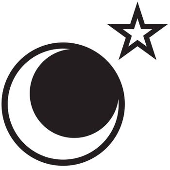 A star and moon drawing - rasterized vector drawing made in adobe illustrator.