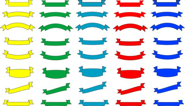 colorful ribbons set different element waving form