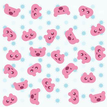 set of pink teddy bear on blue background wallpaper
