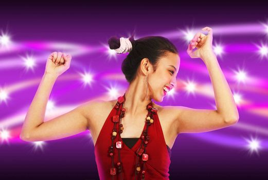 Young woman dancing at a nightclub with abstract purple and stars background