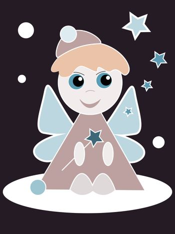 Little angel on dark background doing magic stars and snowflakes