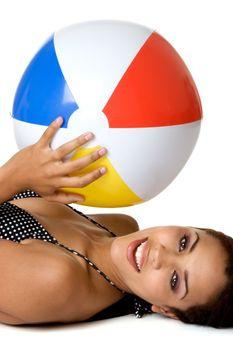 Beautiful smiling beach ball woman