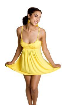Black woman wearing yellow dress