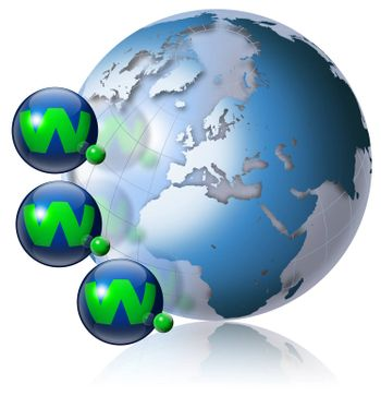 Illustration symbol www and internet with green terrestrial globe and 3 blue planets