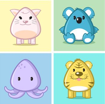 Image of animal (cat, koala, squid, tiger) in caricature cartoon style with soft and cute color on nice colored background