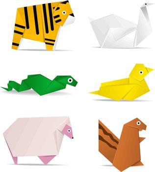 hi-detail vector of origami of animals