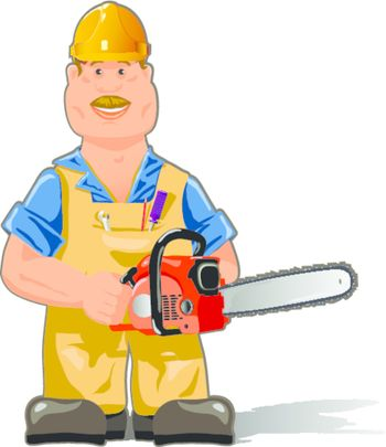 illustration, a worker in overalls with a chainsaw