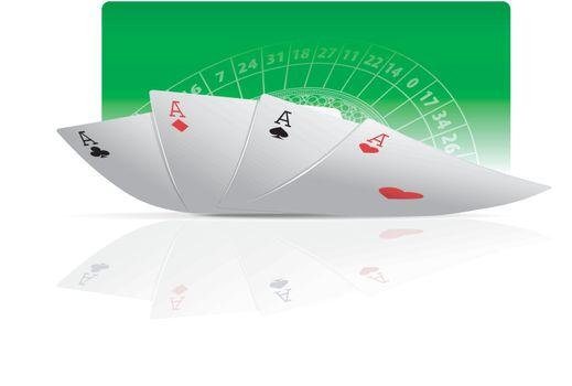 Four card aces vector illustration. Poker concept