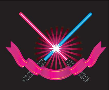 Crossed light sabers with ribbon vector illustration on black