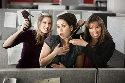 Three Women Quarreling In Office