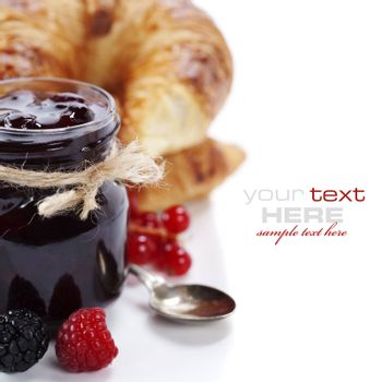 Breakfast with Fresh Croissants and jam (easy removable text)