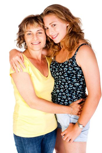 Mother and daughter embracing each other isolated on white background..