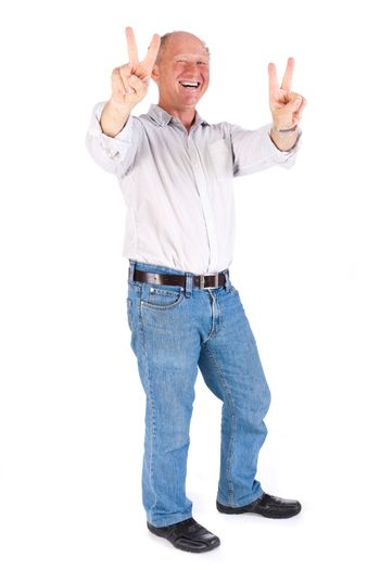 Handsome old man showing victory sign on white background, isolated.