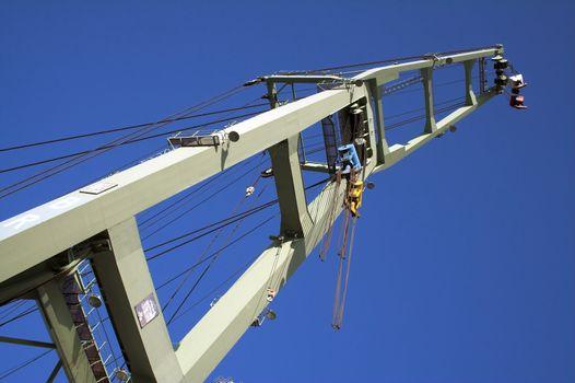 The arm of a big harbor crane (Antwerp port, Belgium)