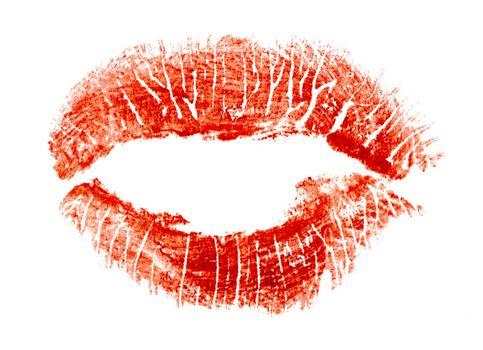 Kiss. Imprint of lipstick in form kiss.