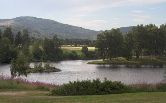 Summer landscape - river with islands, mountains in the background.