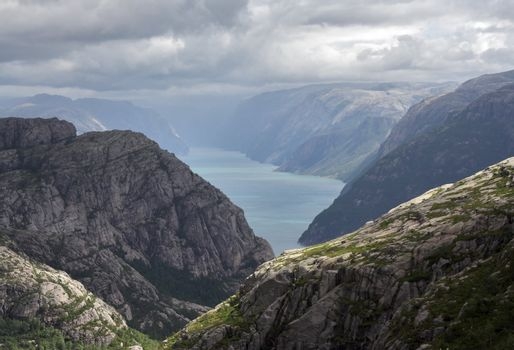 Picturesque view at Lyse fjord (Norway)