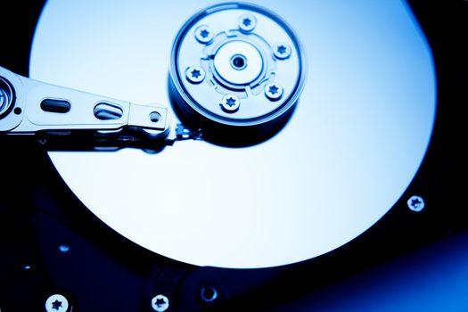 a computer hard drive tinted blue
