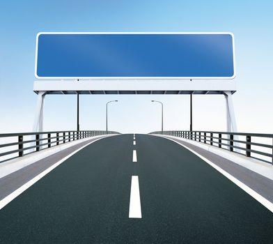 Bridge highway with blank sign