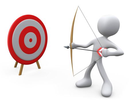 3d person aiming an arrow at a target .