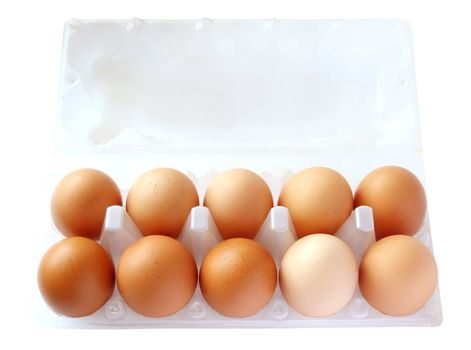 eggs in packing on the white background. (isolated)