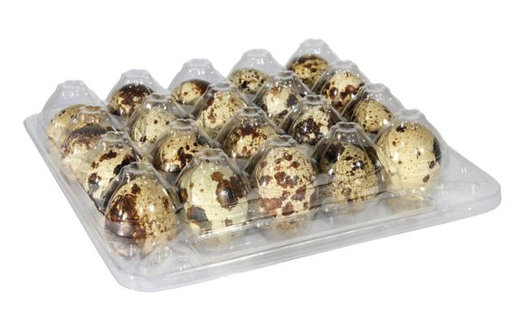 quail egg in packing on the white background. (isolated)