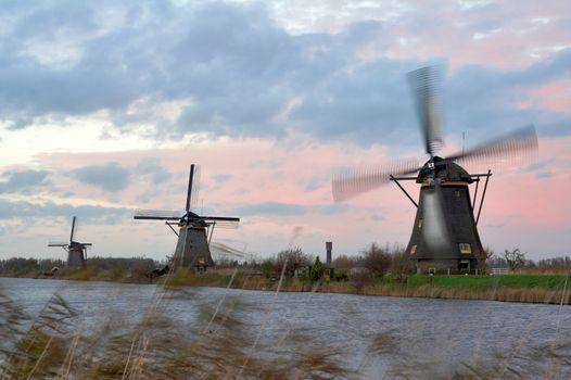 Windmills in sunset - Kinderdijk, the Netherlands