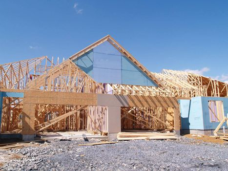 exterior view of a new home under construction