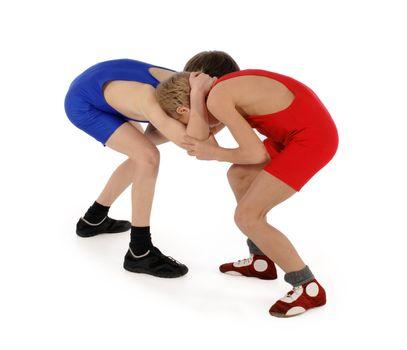 two wrestlers Greco-Roman wrestling
