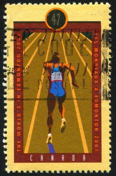 CANADA - CIRCA 2001: stamp printed by Canada, shows Hockey, circa 2001