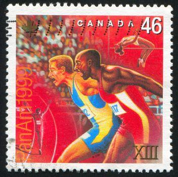 CANADA - CIRCA 1999: stamp printed by Canada, shows runner, circa 1999