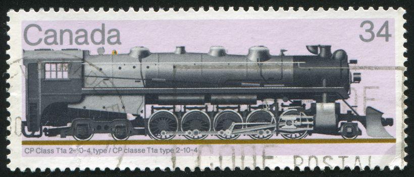 CANADA - CIRCA 1986: stamp printed by Canada, shows locomotive, circa 1986
