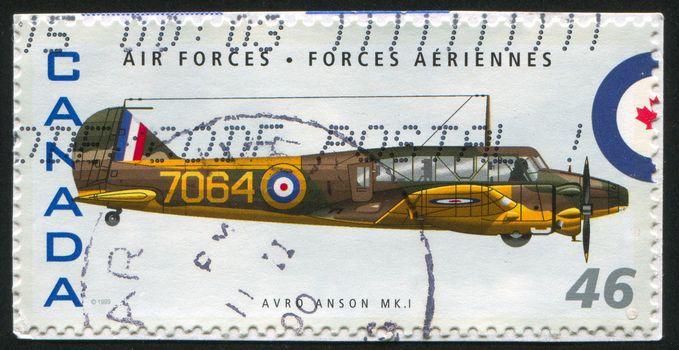 CANADA - CIRCA 1999: stamp printed by Canada, shows aeroplane, avro nson MKI, circa 1999